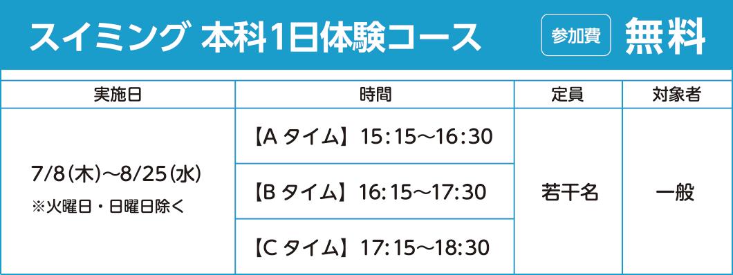 スイミング 本科1日体験コース 参加費:無料
