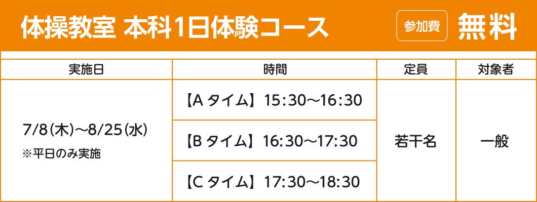 体操教室 本科1日体験コース 参加費:無料
